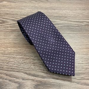 Marc Anthony Purple w/ Grey & Blue Check Tie